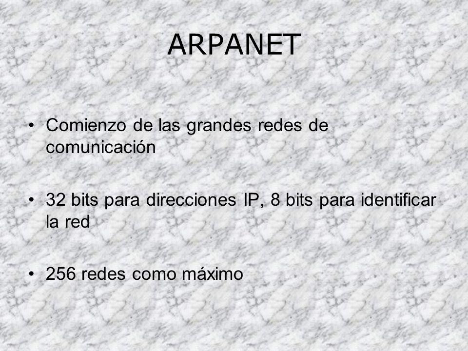 ARPANET Comienzo de las grandes redes de comunicación
