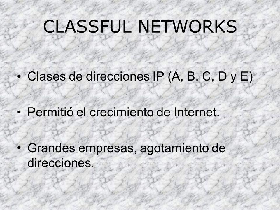 CLASSFUL NETWORKS Clases de direcciones IP (A, B, C, D y E)
