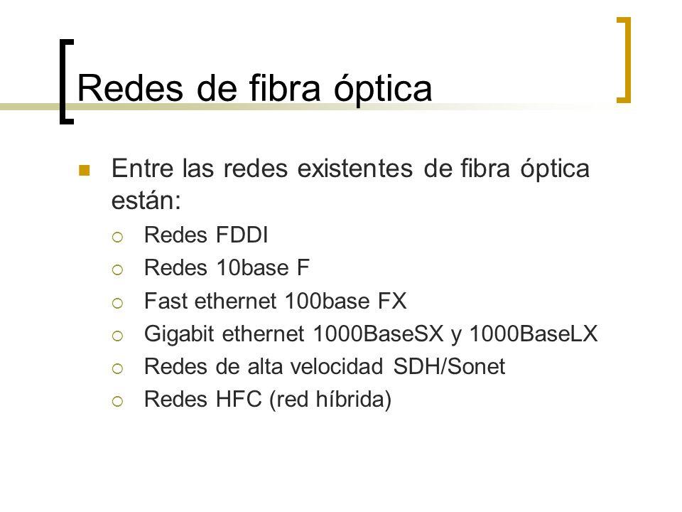 Redes de fibra óptica Entre las redes existentes de fibra óptica están: Redes FDDI. Redes 10base F.