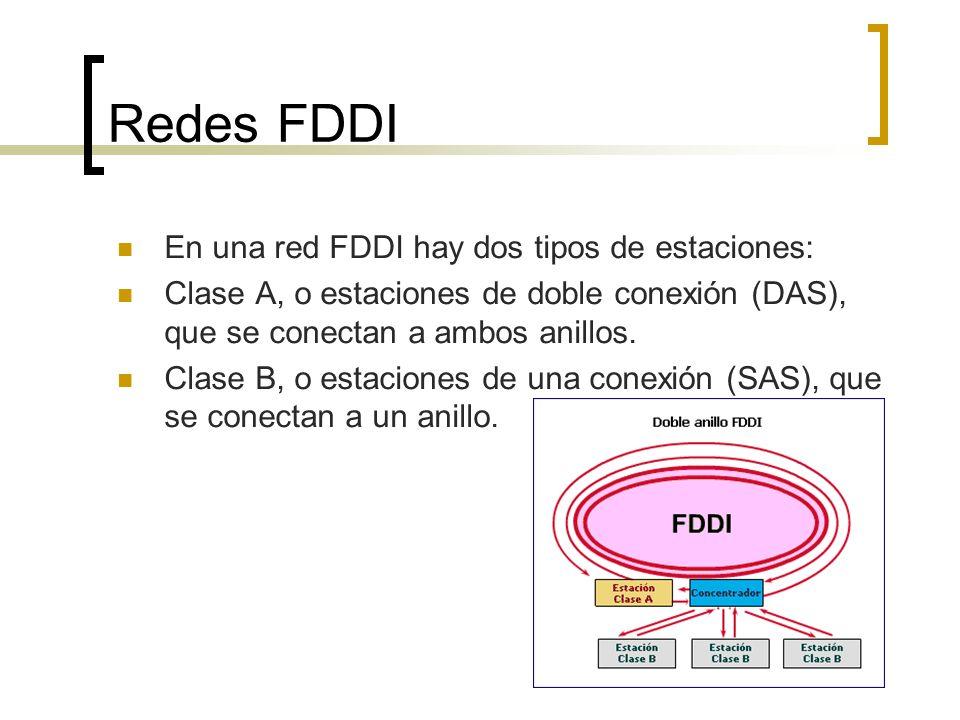 Redes FDDI En una red FDDI hay dos tipos de estaciones: