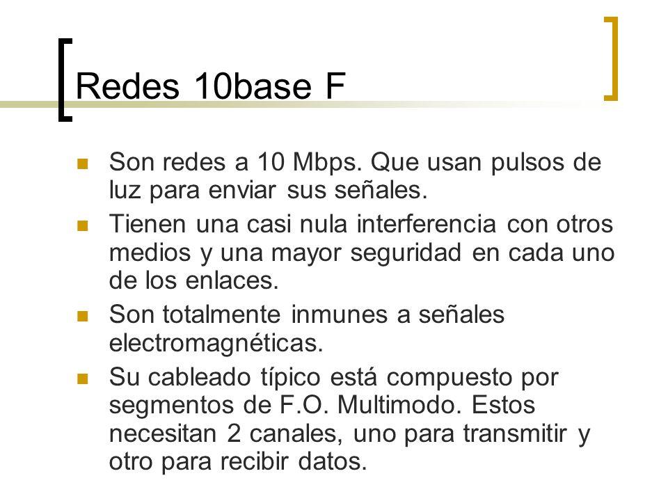 Redes 10base F Son redes a 10 Mbps. Que usan pulsos de luz para enviar sus señales.