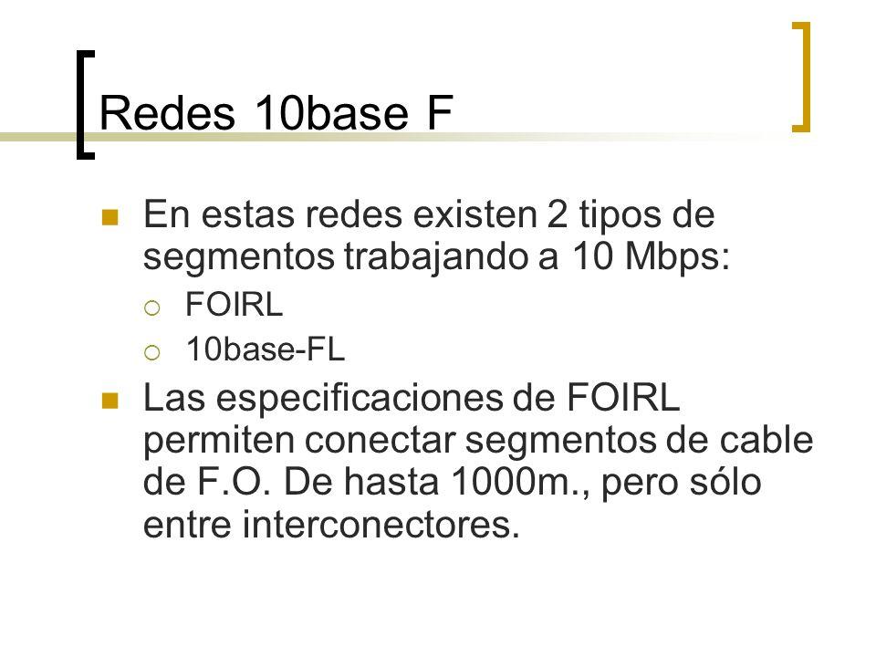 Redes 10base F En estas redes existen 2 tipos de segmentos trabajando a 10 Mbps: FOIRL. 10base-FL.