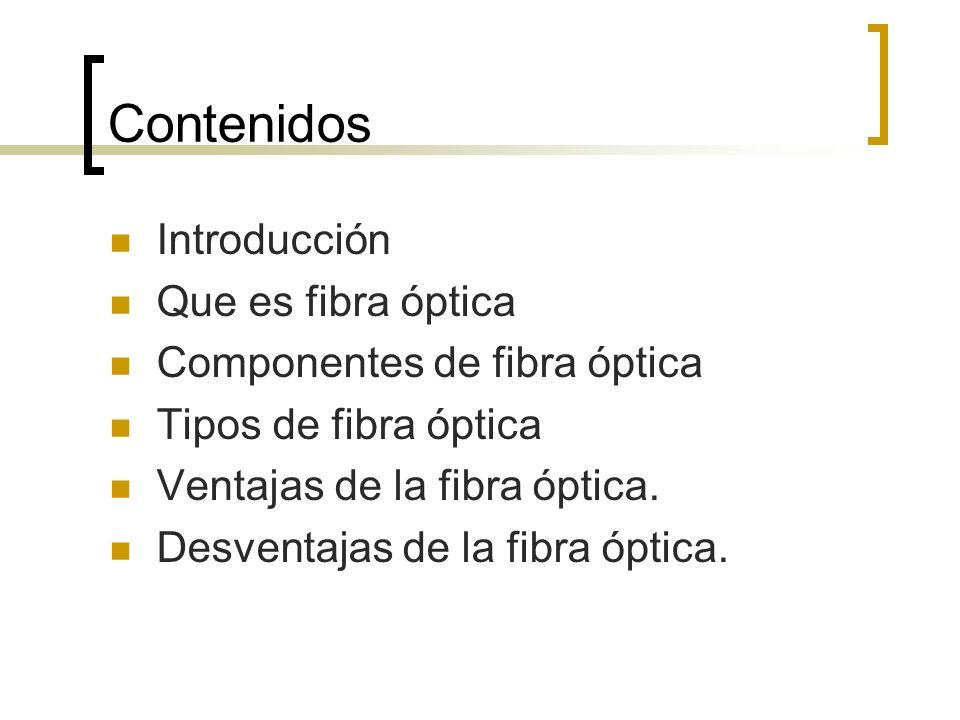 Contenidos Introducción Que es fibra óptica