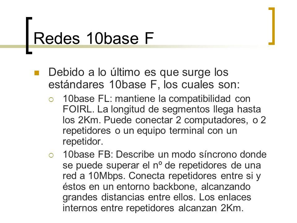 Redes 10base F Debido a lo último es que surge los estándares 10base F, los cuales son:
