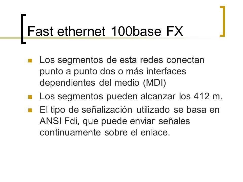 Fast ethernet 100base FX Los segmentos de esta redes conectan punto a punto dos o más interfaces dependientes del medio (MDI)