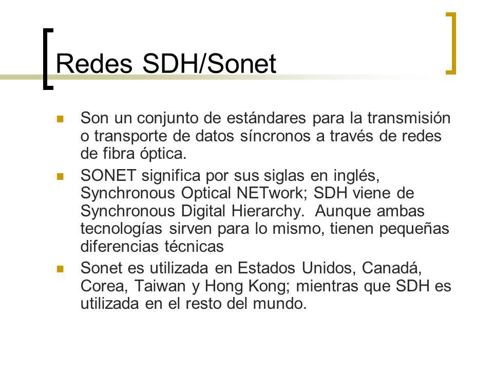 Redes SDH/Sonet Son un conjunto de estándares para la transmisión o transporte de datos síncronos a través de redes de fibra óptica.