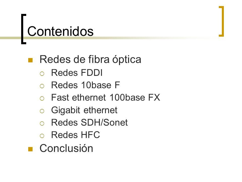 Contenidos Redes de fibra óptica Conclusión Redes FDDI Redes 10base F