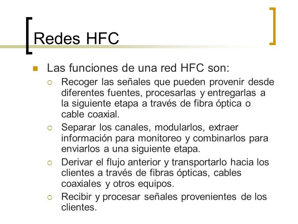 Redes HFC Las funciones de una red HFC son: