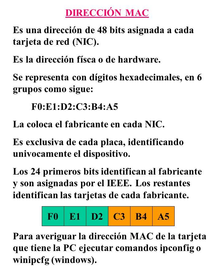 DIRECCIÓN MAC Es una dirección de 48 bits asignada a cada tarjeta de red (NIC). Es la dirección físca o de hardware.