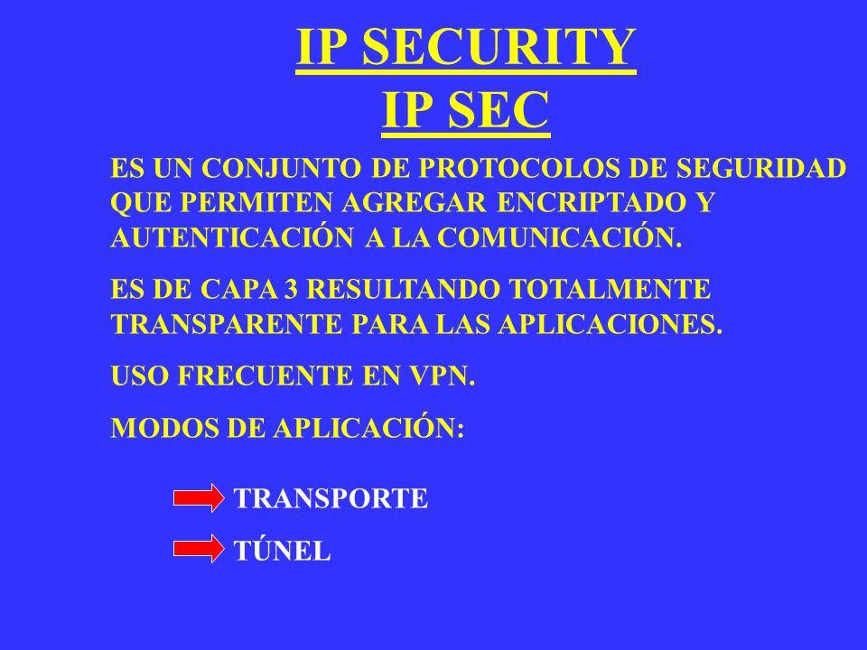 IP SECURITY IP SEC ES UN CONJUNTO DE PROTOCOLOS DE SEGURIDAD QUE PERMITEN AGREGAR ENCRIPTADO Y AUTENTICACIÓN A LA COMUNICACIÓN.