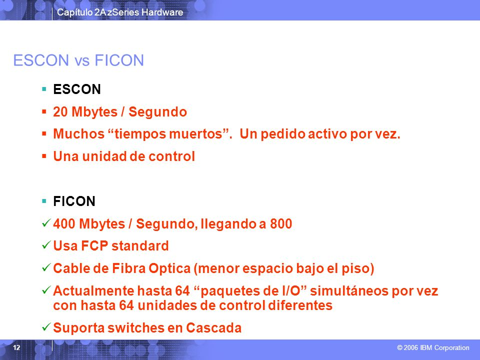 ESCON vs FICON ESCON 20 Mbytes / Segundo