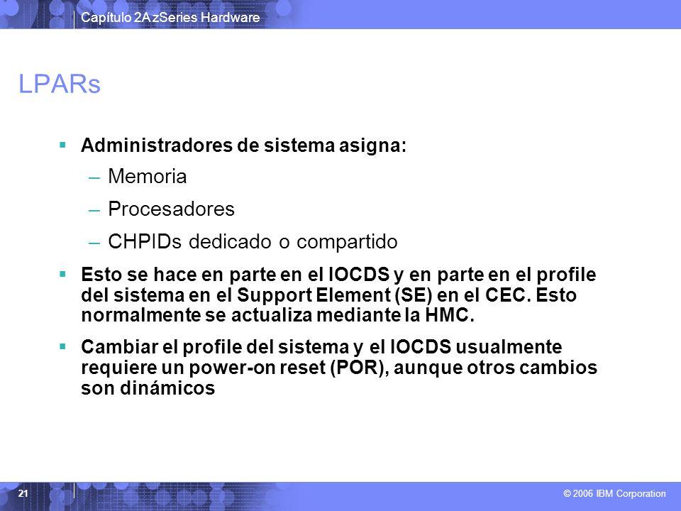 LPARs Memoria Procesadores CHPIDs dedicado o compartido