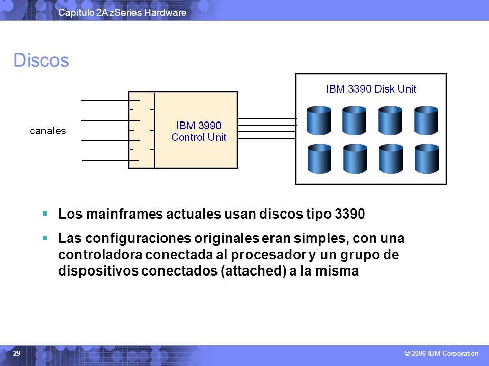Discos Los mainframes actuales usan discos tipo 3390