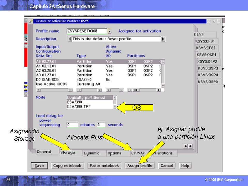 OS ej. Asignar profile a una partición Linux Asignación Storage Allocate PUs
