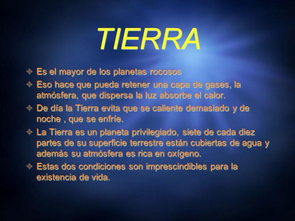 TIERRA Es el mayor de los planetas rocosos