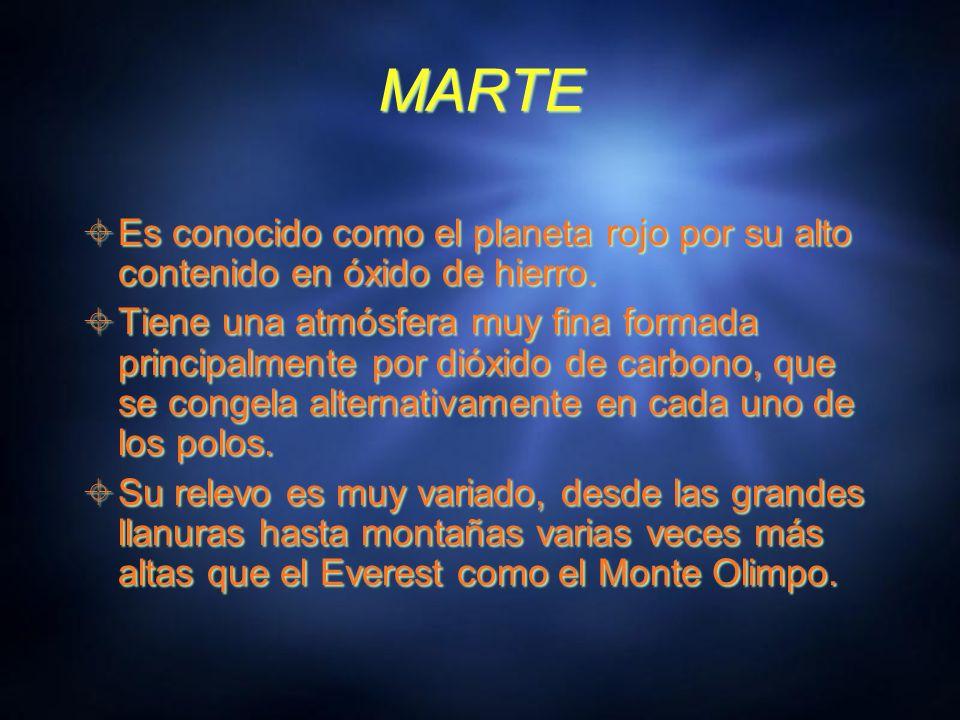 MARTE Es conocido como el planeta rojo por su alto contenido en óxido de hierro.