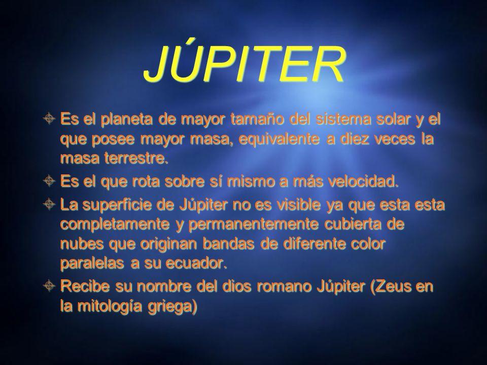 JÚPITER Es el planeta de mayor tamaño del sistema solar y el que posee mayor masa, equivalente a diez veces la masa terrestre.