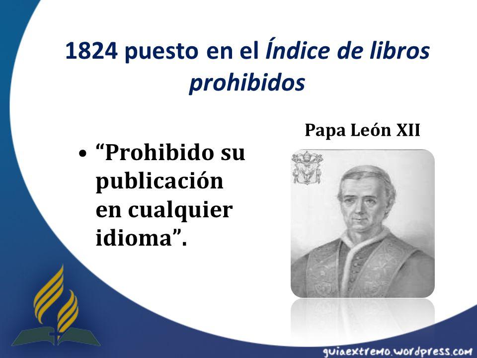 1824 puesto en el Índice de libros prohibidos