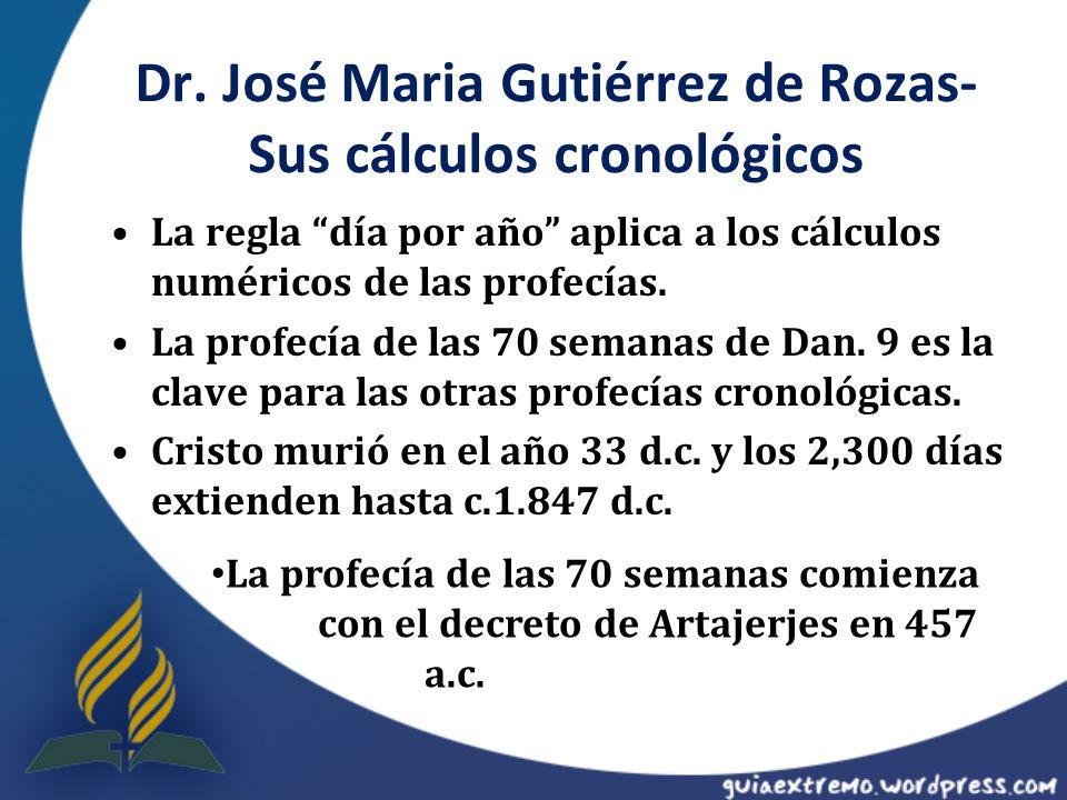 Dr. José Maria Gutiérrez de Rozas- Sus cálculos cronológicos
