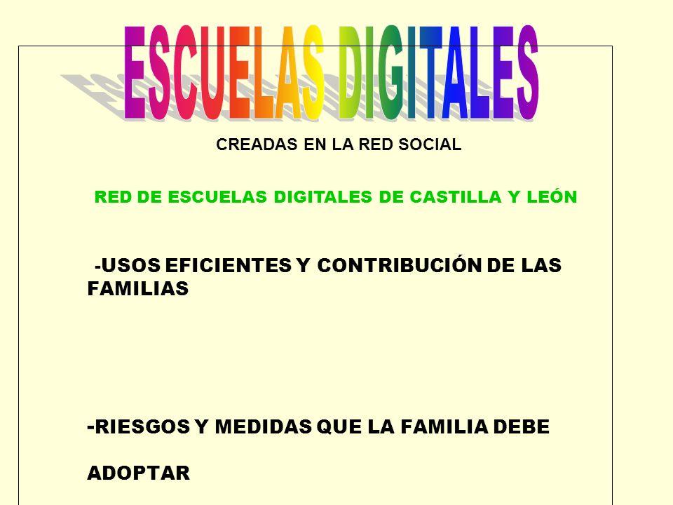 ESCUELAS DIGITALES -USOS EFICIENTES Y CONTRIBUCIÓN DE LAS FAMILIAS -RIESGOS Y MEDIDAS QUE LA FAMILIA DEBE ADOPTAR.