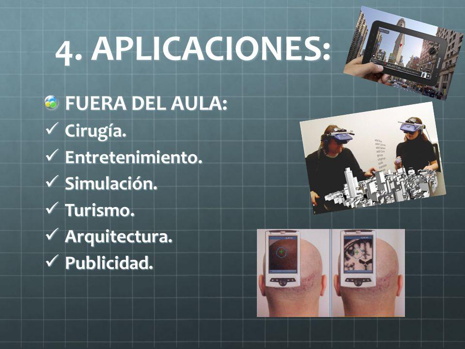 4. APLICACIONES: FUERA DEL AULA: Cirugía. Entretenimiento. Simulación.