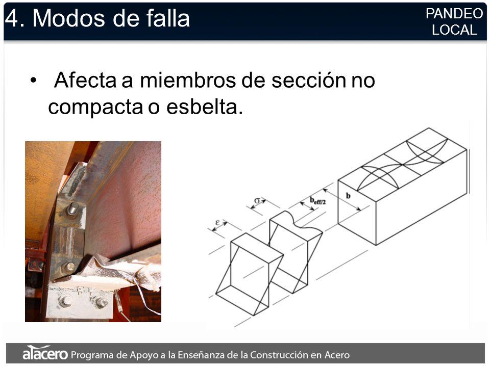 4. Modos de falla Afecta a miembros de sección no compacta o esbelta.