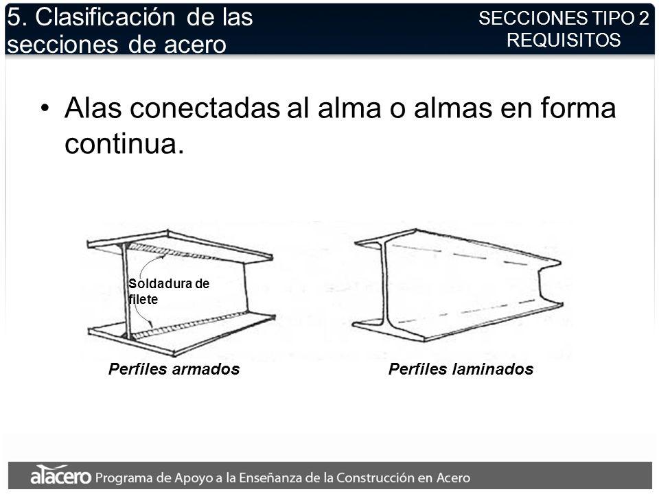 5. Clasificación de las secciones de acero
