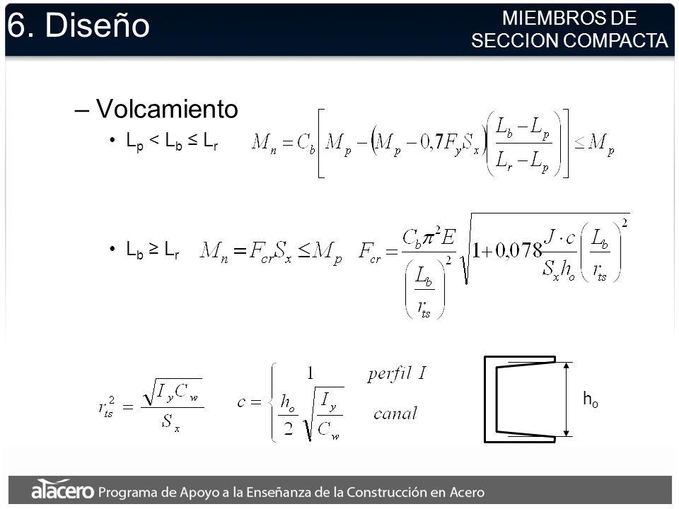 6. Diseño Volcamiento MIEMBROS DE SECCION COMPACTA Lp < Lb ≤ Lr