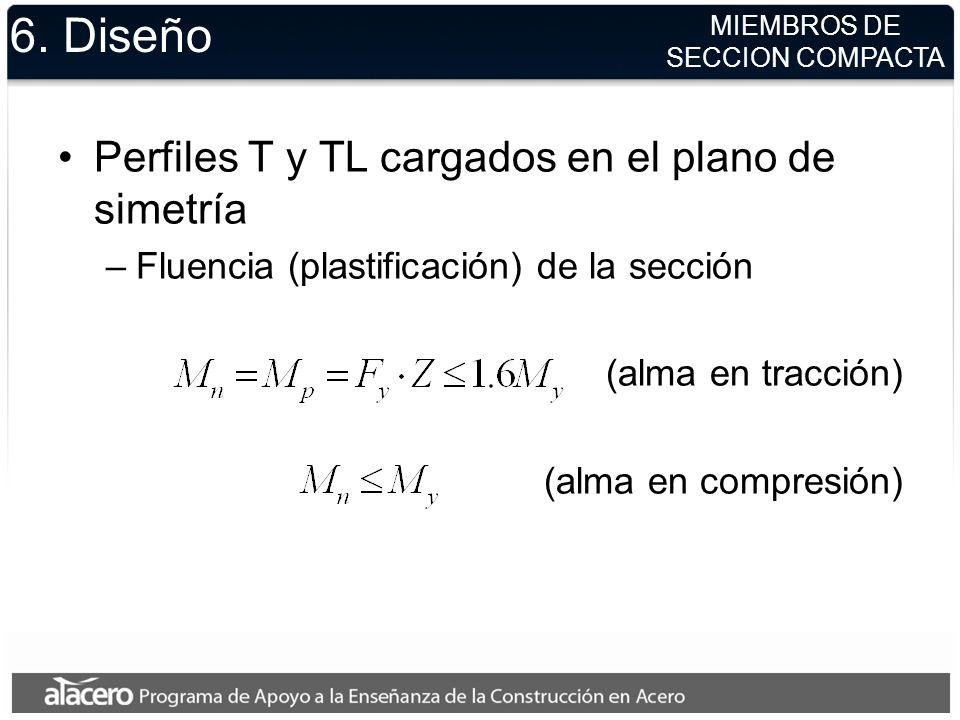 6. Diseño Perfiles T y TL cargados en el plano de simetría