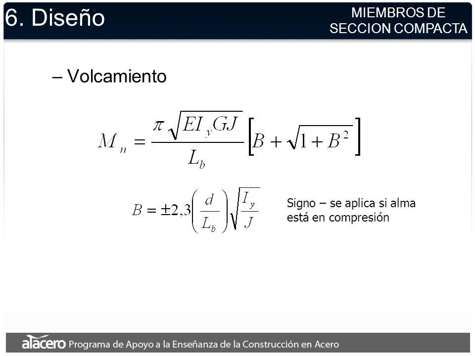 6. Diseño Volcamiento MIEMBROS DE SECCION COMPACTA