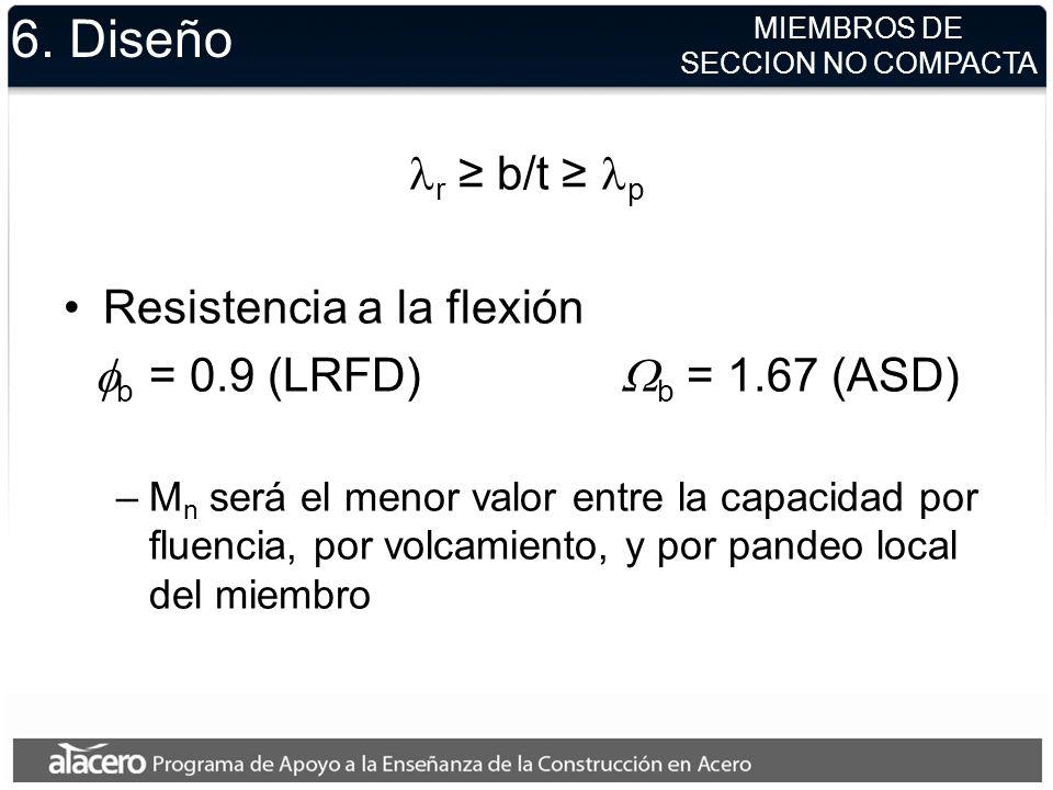 6. Diseño lr ≥ b/t ≥ lp Resistencia a la flexión