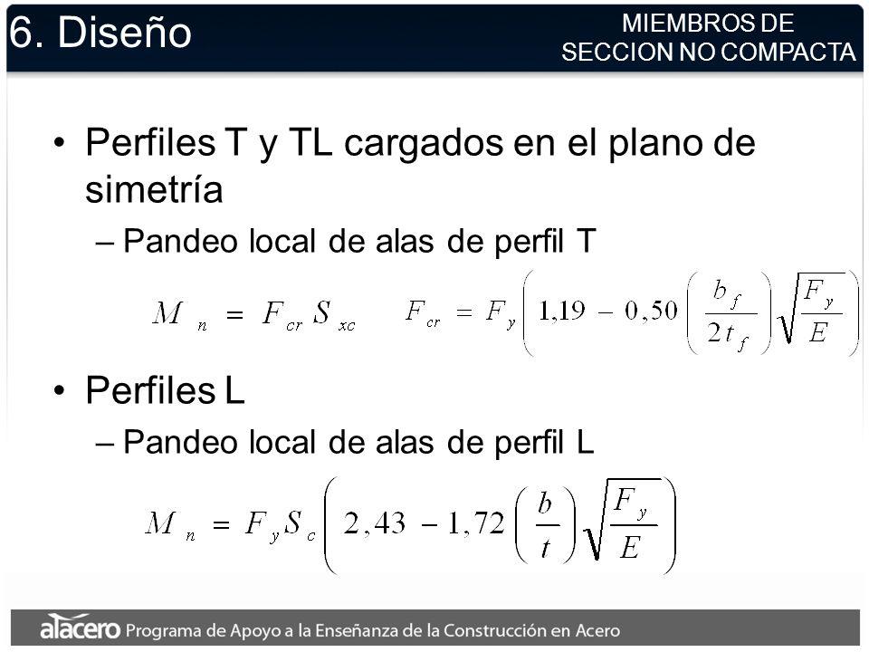 6. Diseño Perfiles T y TL cargados en el plano de simetría Perfiles L