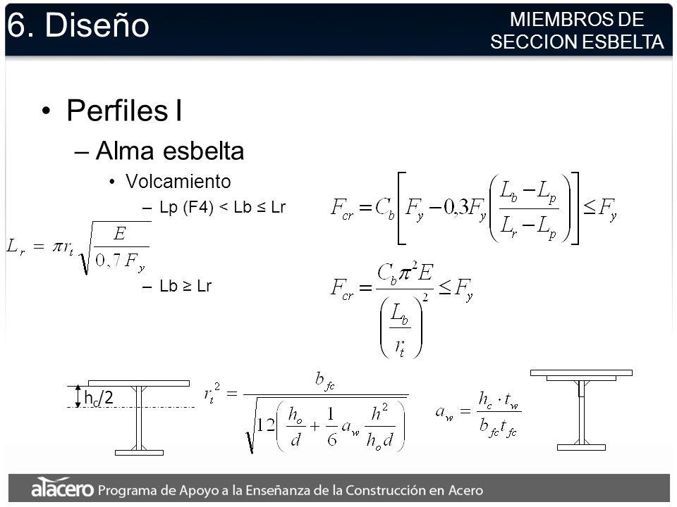 6. Diseño Perfiles I Alma esbelta MIEMBROS DE SECCION ESBELTA