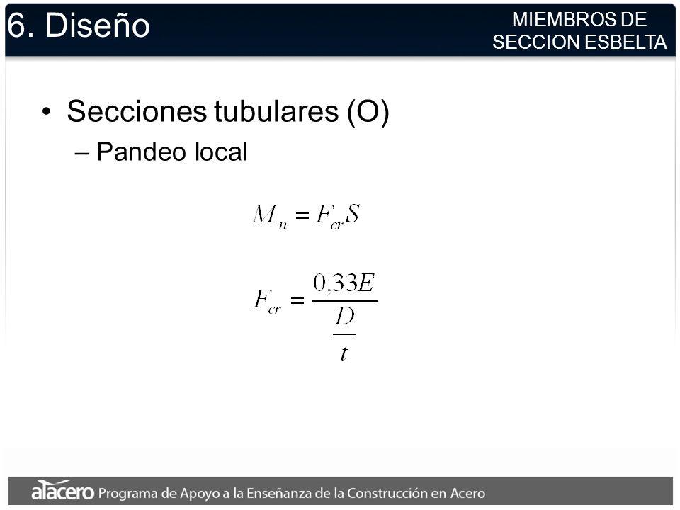 6. Diseño Secciones tubulares (O) Pandeo local MIEMBROS DE