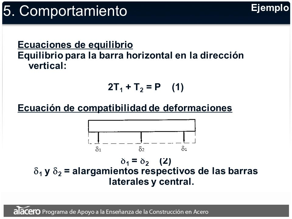 d1 y d2 = alargamientos respectivos de las barras laterales y central.