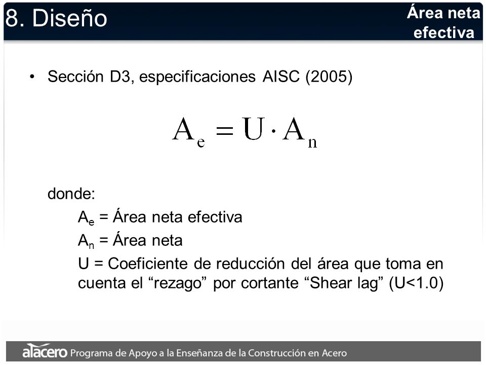 8. Diseño Área neta efectiva Sección D3, especificaciones AISC (2005)