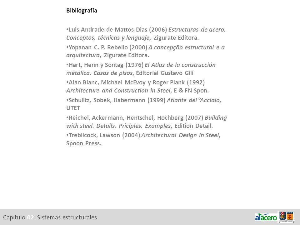 Bibliografía Luis Andrade de Mattos Dias (2006) Estructuras de acero. Conceptos, técnicas y lenguaje, Zigurate Editora.