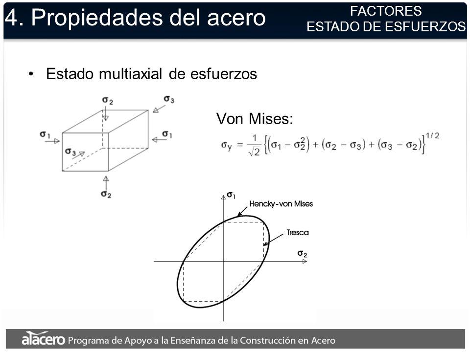 4. Propiedades del acero Estado multiaxial de esfuerzos Von Mises:
