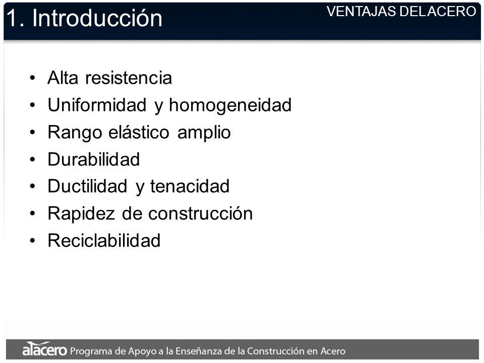 1. Introducción Alta resistencia Uniformidad y homogeneidad
