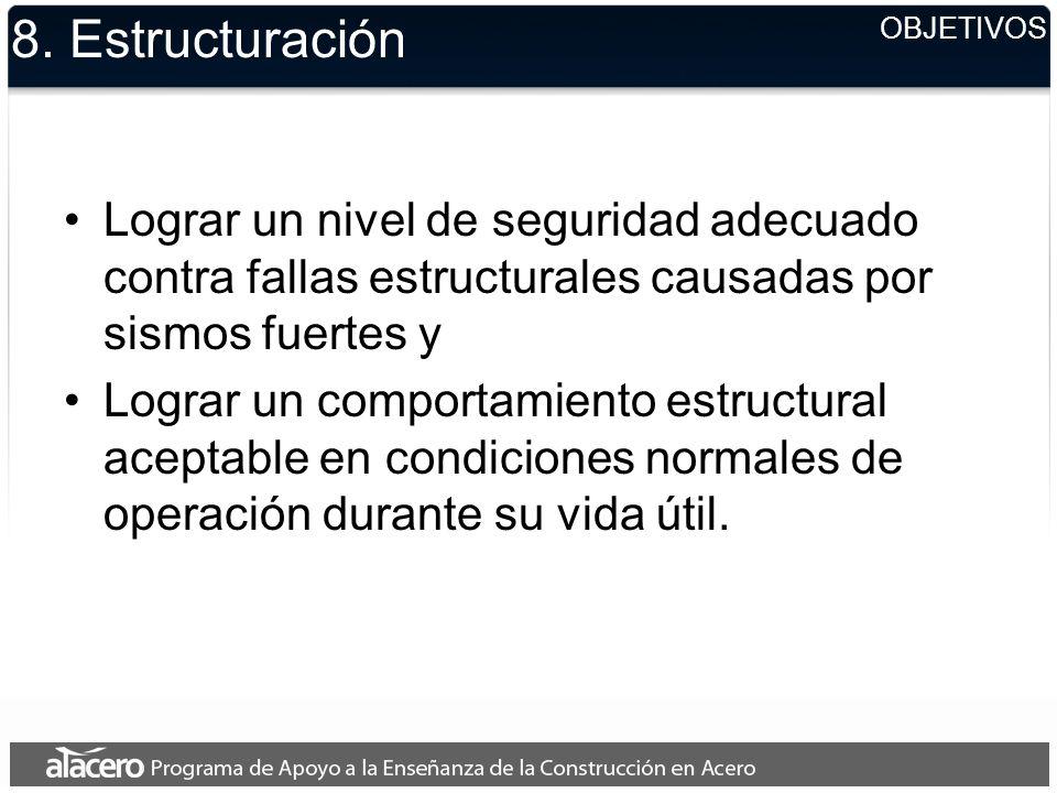 8. Estructuración OBJETIVOS. Lograr un nivel de seguridad adecuado contra fallas estructurales causadas por sismos fuertes y.
