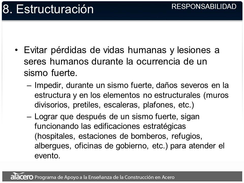 8. EstructuraciónRESPONSABILIDAD. Evitar pérdidas de vidas humanas y lesiones a seres humanos durante la ocurrencia de un sismo fuerte.