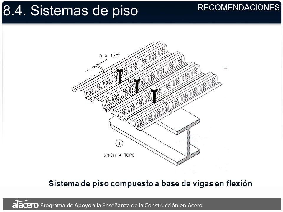 Sistema de piso compuesto a base de vigas en flexión