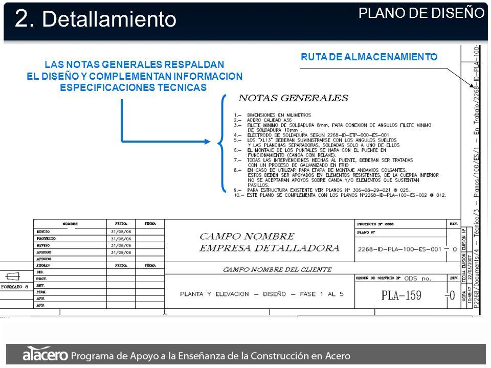 2. Detallamiento PLANO DE DISEÑO RUTA DE ALMACENAMIENTO