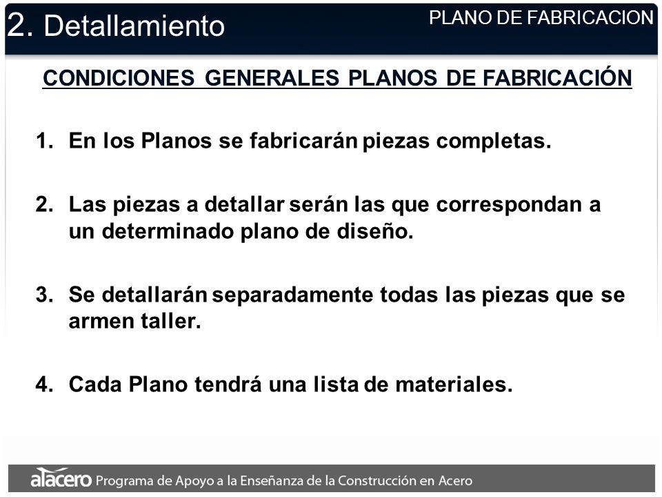 CONDICIONES GENERALES PLANOS DE FABRICACIÓN