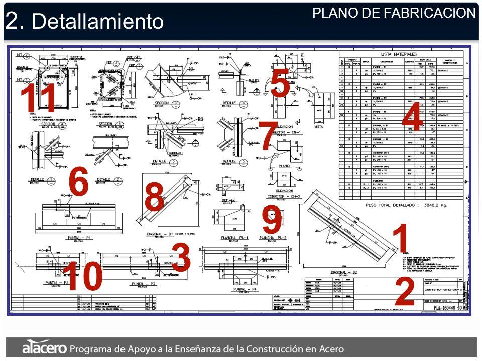 5 11 4 7 6 8 9 1 3 10 2 2. Detallamiento PLANO DE FABRICACION
