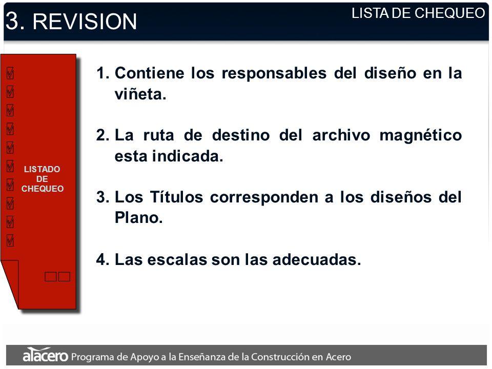 3. REVISION Contiene los responsables del diseño en la viñeta.