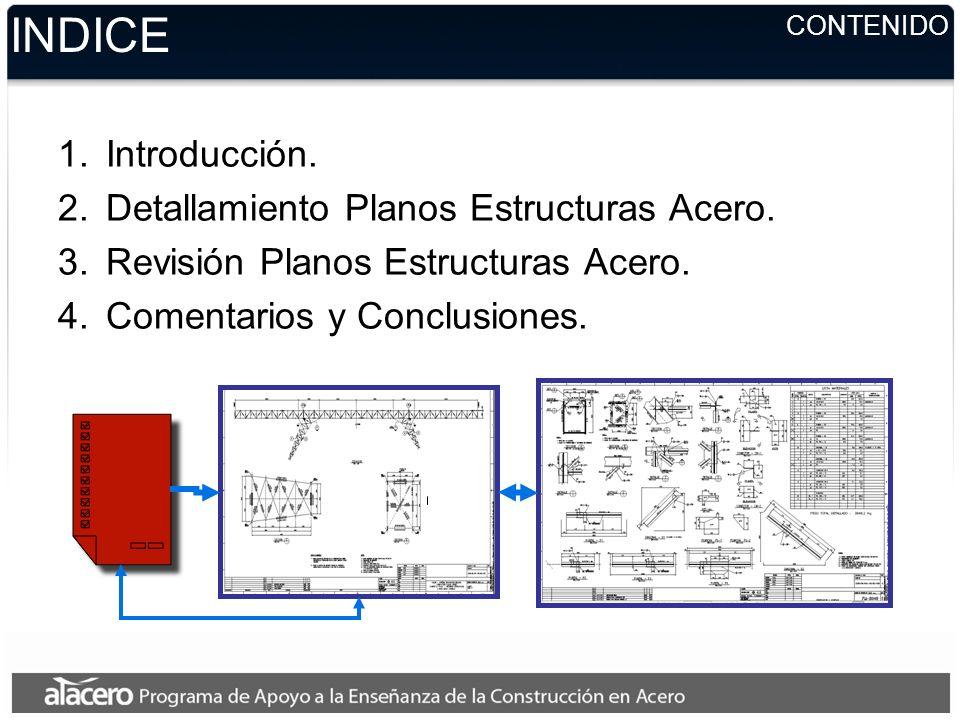INDICE Introducción. Detallamiento Planos Estructuras Acero.