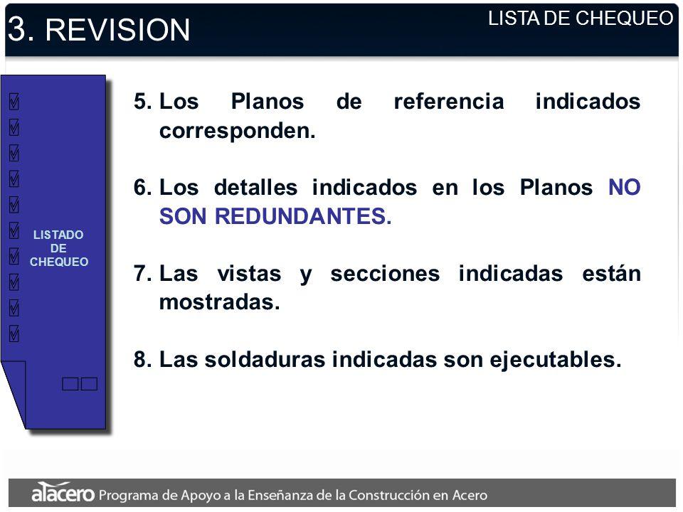3. REVISION Los Planos de referencia indicados corresponden.