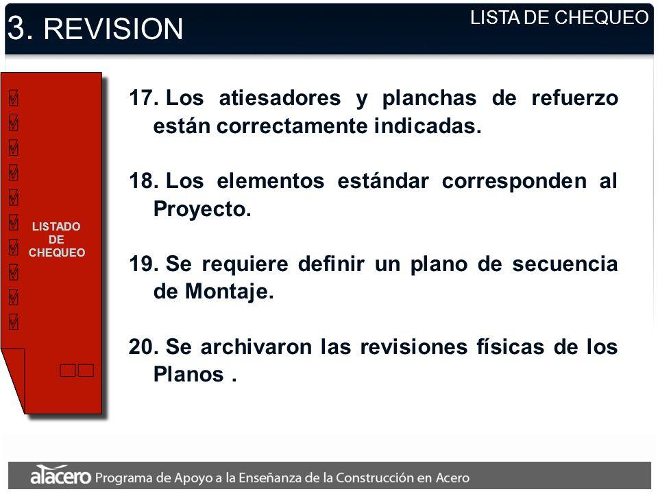3. REVISION LISTA DE CHEQUEO. LISTADO DE CHEQUEO. Los atiesadores y planchas de refuerzo están correctamente indicadas.