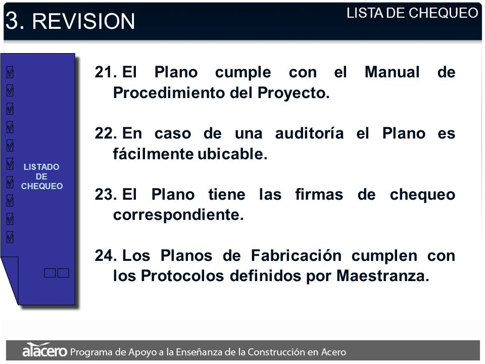3. REVISION LISTA DE CHEQUEO. LISTADO DE CHEQUEO. El Plano cumple con el Manual de Procedimiento del Proyecto.